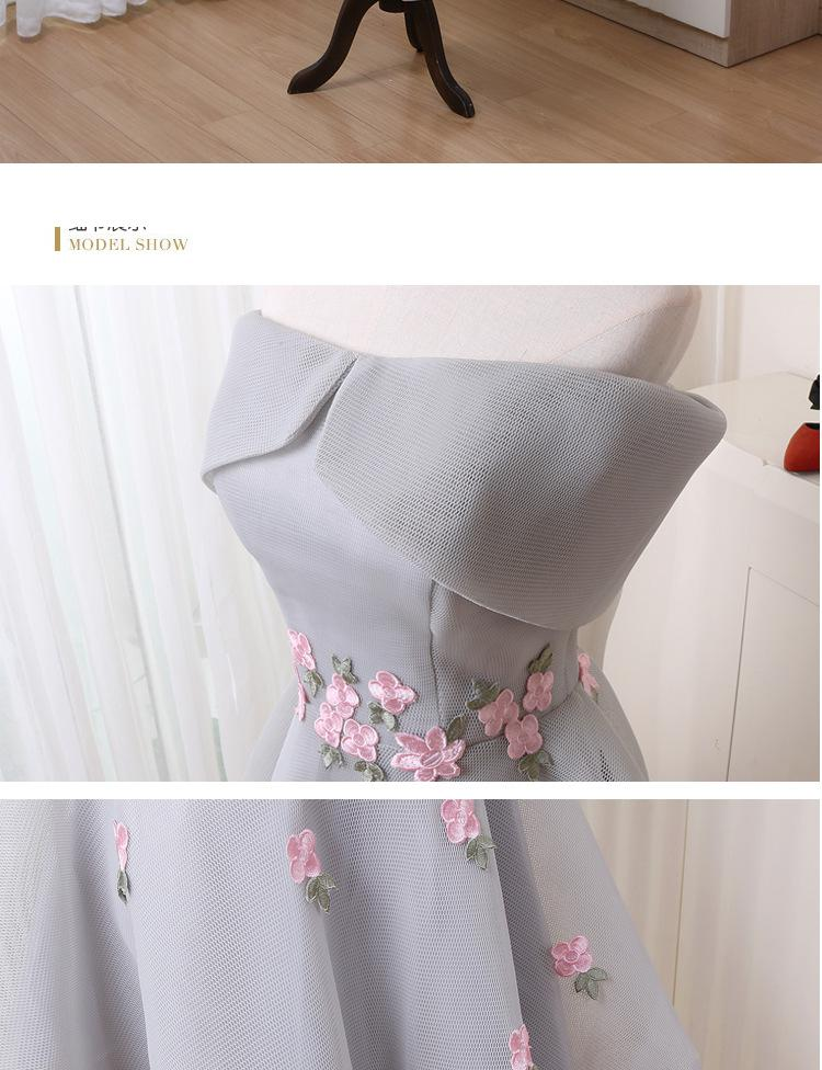 2018 Long Back Short Front Bridesmaid Dress Boat Neck Satin Cap Sleeve Candy Color Sexy Applicue Bridesmaid Dresses 11
