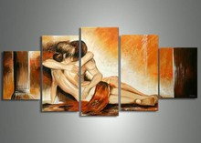 free shipping handmade 5 piece modern abstract decorative oil painting on canvas wall art sexy nude lover picture for home decor(China)