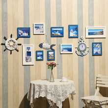 Mediterranean style photo wall decoration European photo frame combination with clock Creative living room decoration