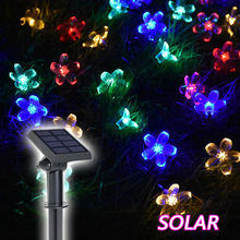 Solar Lamps Outdoor holiday lighting 50 Beads 7M LED Starry Light Rope patio Decor Fairy Icicle Lighting String Christmas Light(China)