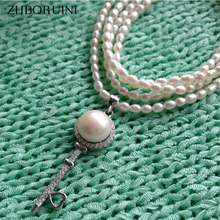 ZHBORUINI Fashion Long Multilayer Pearl Necklace Freshwater Pearl Lovely Key Necklace 925 Sterling Silver Jewelry For Women(China)