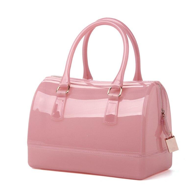 2018 Top Handle Jelly Bag Iridescent Pvc Pillow Satchel Bag For Girls Women Furly Candy Bag Famous Designer Purses And Handbags <br>