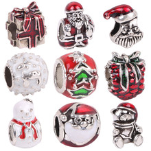 AIFEILI High Quality Style Enamel Crystal Christmas Gift Bead Charms Fits Pandora Bracelets For Women Jewelry Wholesale(China)
