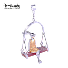 Artilady 925 sterling silver pendant natural pink shell miss rabbit pendant for women jewelry lover gift party
