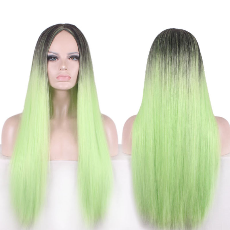 75cm Women Synthetic Long Natural Straight Silky Ombre Black to Grass Green Hair Centural Parting Wig<br><br>Aliexpress