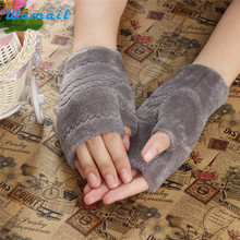 Elegant Nobility Winter Autumn Thick Warm Womens Winter Gloves Fingerless Glove Black Red Gray Brown
