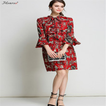 Monroo Women A-Line Autumn Dress Print Flower Wrist Sleeve O-Neck Elegant Dress Butterfly Sleeve Loose Comfortable New Fashion(China)