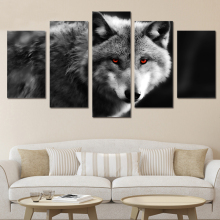 HD Printed 5 Piece Canvas Art Red Eye Wolf Painting 2017 New Wall Canvas Art Framed Artwork Free Shipping