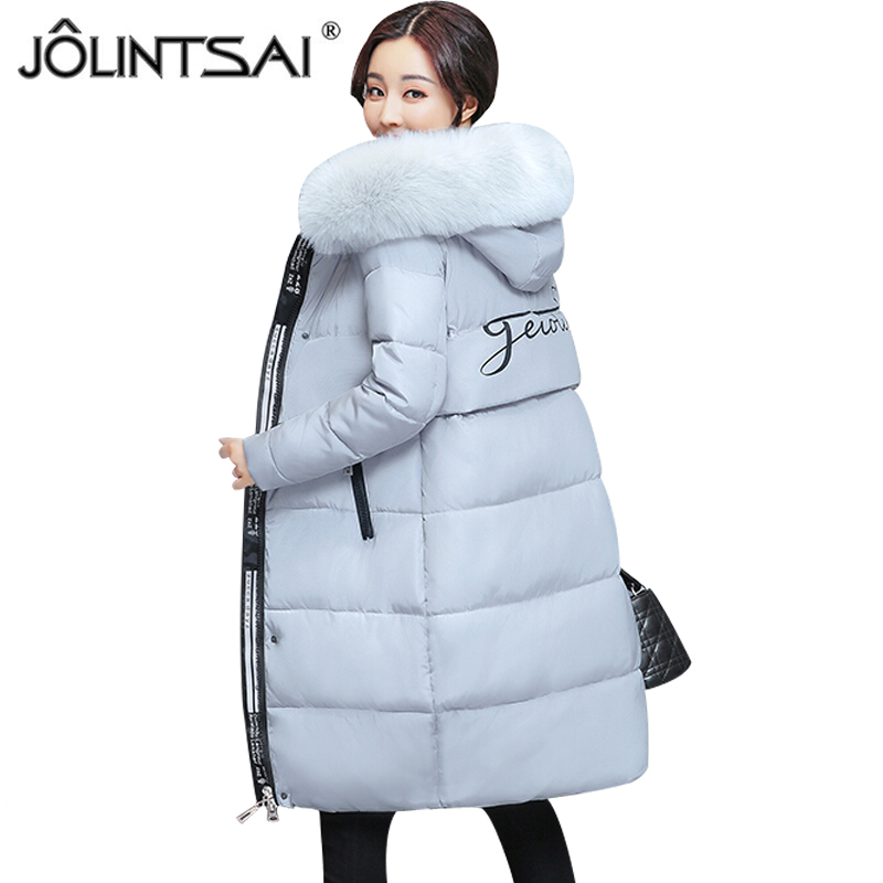 JOLINTSAI 2017 Fur Collar Women Winter Hooded Coat Female Outerwear Parka Plus Size 3XL Ladies Warm Long Jacket Slim ParkasÎäåæäà è àêñåññóàðû<br><br>