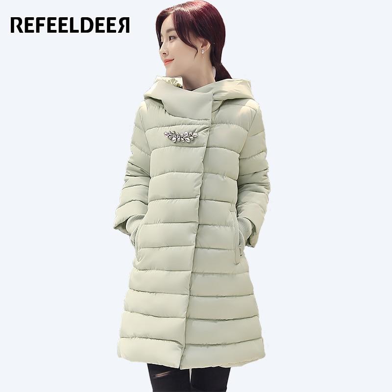 Refeeldeer Cotton Padded Long Winter Jacket Womens Parkas 2017 Thick Warm Hooded Female Jacket Winter Coat Women Snow CoatÎäåæäà è àêñåññóàðû<br><br>