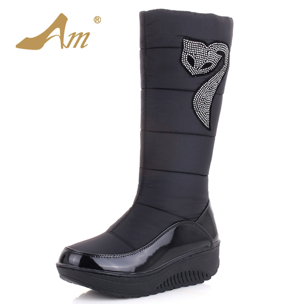 AME Fashion Med calf Snow Boots Woman Slip on Solid Down Boots with Short Plush for Girl Ladies Flat with Shoes<br>