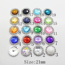 10Pc 21mm Acrylic rhinestone Button metal sewing clothing buttons Wedding inviations decorate hair flower center scrapbooking