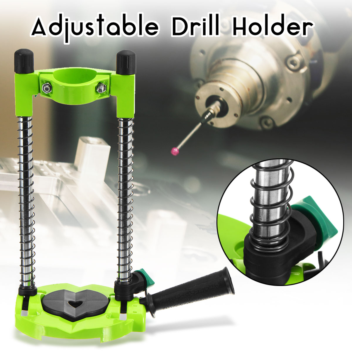 Precision Drill Guide Pipe Drill Holder Stand Drilling Guide with Adjustable Angle and Removeable Handle DIY Woodworking Tool<br>