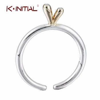 Kinitial 1Pcs  925 Silver Simple Rings Open Animal Ears Ring Fashion Ring Women Finger Ear Statement Jewelry Drop shipping