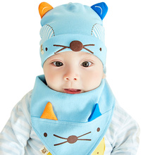 Cat Baby Hat With Ears Cartoon Newborn Baby Hat +Solid Cotton Baby Scarft Mouth Towel Spring Autumn Baby Boys Girls Hat Set 3-8M