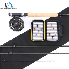 Maximumcatch Carbon Fiber Fly Rod 9FT 5WT 4 Pcs & Plastic Fly Reel & Fly Line with Fly Flies Fly Fishing Combo