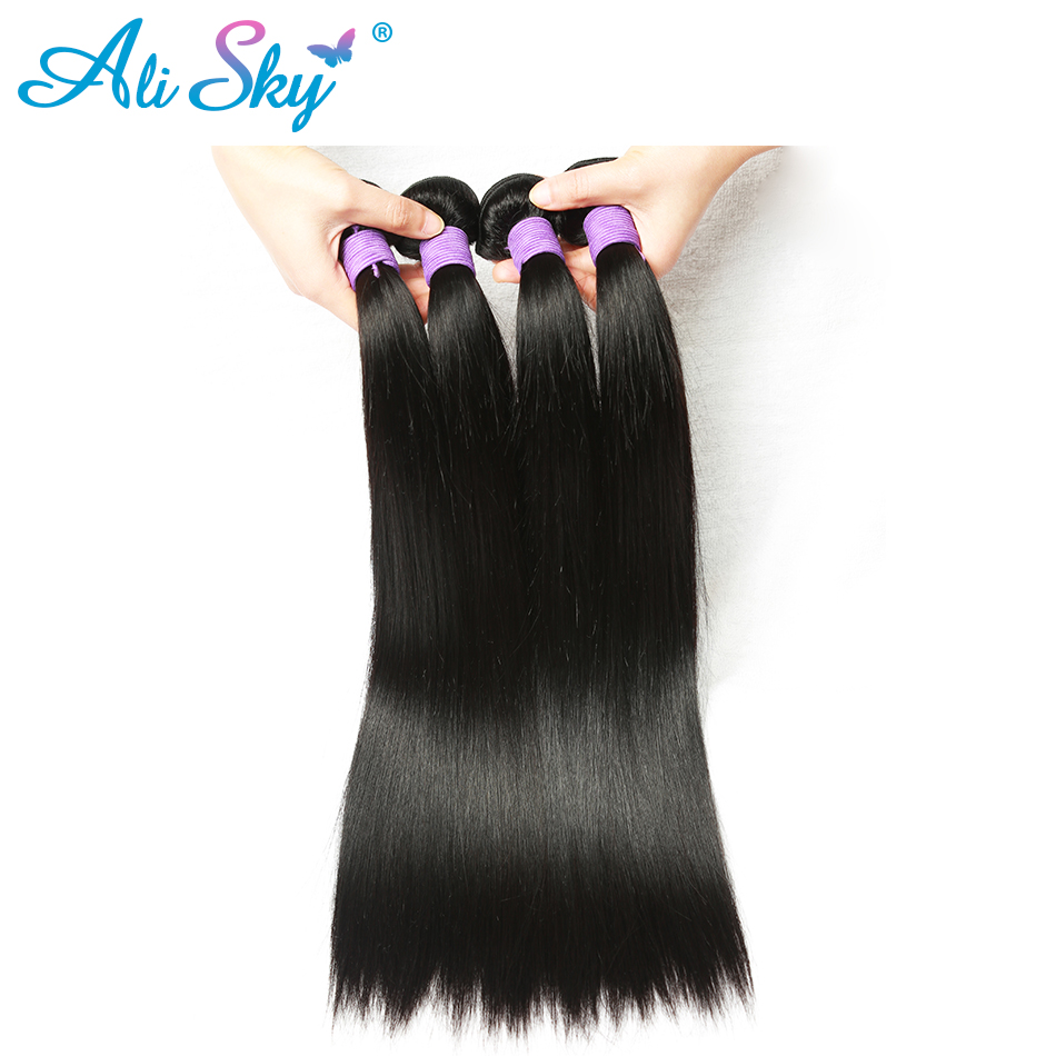 Ali Sky Malaysian Virgin Hair Straight Weave Bundles 1pc 8″-26″ Hair Weaving UK Double Weft Can Be Dyed Hair Extension