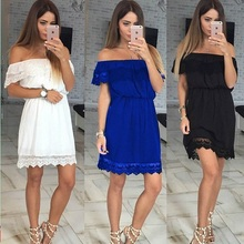 Hanyiren 2017 Hot Style Summer Dress Women Lace Patchwork Mini Dresses Slash Neck Off the Shoulder Sexy Vestidoes Curto 3 Colors