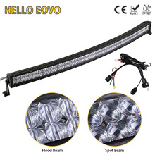 HELLO EOVO 5D 52 inch 500W Curved LED Light Bar for Work Indicators Driving Offroad Boat Car Tractor Truck 4x4 SUV ATV 12V 24V(China)