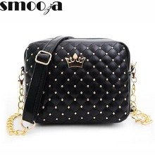 SMOOZA 2017 Women Bag Fashion Women Messenger Bags Rivet Chain Shoulder Bag High Quality PU Leather Crossbody Quiled Crown bags(China)