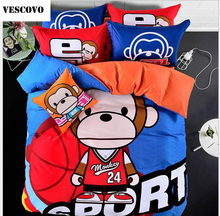 VESCOVO Cotton comforter sets monkey kids bedding set full size quilt covers queen size