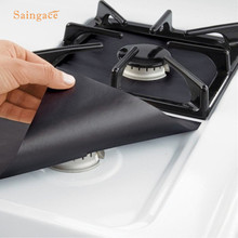 Saingace Kitchen Reusable Gas Range Stovetop Burner Protector Liner Cover For Cleaning Black Heat-resistant Liner 1PC(China)