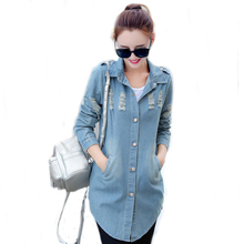 3XL Spring Turn Down Collar Slim Jeans Women Tops Broken Hole Long Sleeve Ladies Plus Size Denim Jacket Women Coat Outerwear 303