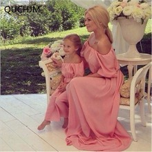 Fashion Family Set Chiffon Dress Boat Neck Mother Daughter Dress Long Mom and Daughter Dresses Clothes Family Clothing WT02