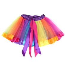 New Fashion Girls Tutu Skirts Baby Ballerina Skirt Childrens Chiffon Fluffy Pettiskirts Kids Casual Candy Color Skirt(China)