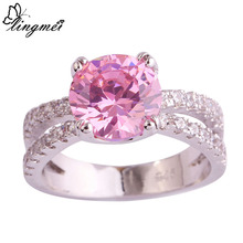 lingmei Wholesale Round Cut Pink  White   Silver Color Ring Size 6 7 8 9 10 11 Jewelry Fashion Women New Design Free Ship