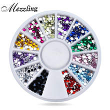 Nail Rhinestones Decorations,Mix 12colors 1.5mm Glitter Acrylic Flatback Nail Tip Gems Wheel,3d Manicure Tools Nail Art Supplies