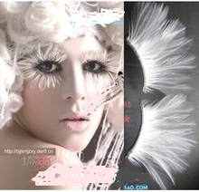 1 pairs Natural white feather personality exaggerated false eyelashes stage masquerade makeup stock(China)