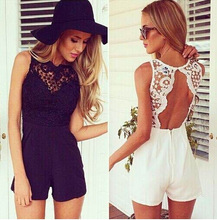 Buy Sexy Backless Club Lace stitching chiffon sleeveless Female Rompers halter wave hollow fashion shorts Jumpsuits summer women