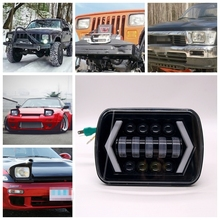 a pair Square 5x7 7x6 inch 90W Led Car Headlight for Dodge Van Jeep YJ XJ Toyota Pickup Nissan 240SX(s13)(China)