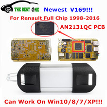 Newest V169 For Renault Can Clip Full Chip AN2131QC With NEC/OMRON Relay Gold PCB CYPRESS OBDII Auto Diagnostic Interface By DHL
