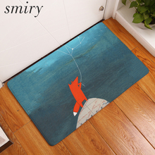 Smiry joyful cute constellation fox pattern mats in front of door rugs water absorption bedroom bedside foot pads home decor