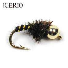 ICERIO 10PCS #14 Bead Head Nymphs Peacock Hackle Dry Flies Fly Trout Fishing Lures(China)