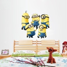 Cheap Minions Wall Sticker Home Decor Cartoon Wall Decal DIY for Kids Room Decal Baby Vinyl Mural Nursery