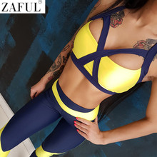 ZAFUL Women Sexy Sport Yoga Set 2 Pieces Color Block Sport Suits Gym Fitness Workout Clothing Sportswear Running Slim Tracksuit(China)