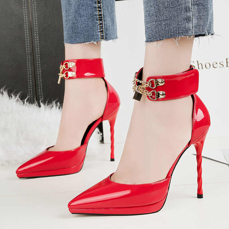 48dd8e3f66c79 2018 Women Summer Fetish 11cm High Heels Stiletto Heels Sandals Lady Pumps  Female Lock Strap Wedding
