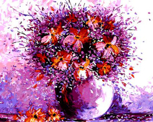 1PC Purple Flower Oil Painting By Numbers Wall Pictures For Living Room Coloring By Numbers Canvas Painting Wall Art Decor