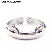 925 Silver Cat Ear Ring Cute Fashion Jewelry Cat Ring For Women Young Gifts Adjustable Anel Wholesale jz276(China)