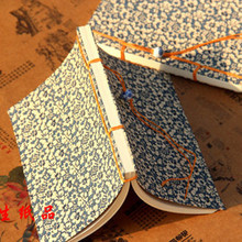 New Products Handmade Retro Flowers Pattern Stationery Hardcover Antique Wire-bound Blue Notebook School Supply Daily Memos PL