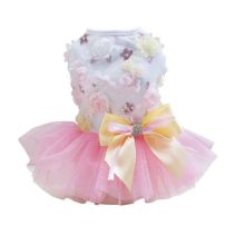 2017 New Puppy Dog Princess Folral Lace Sequins Skirt Tutu Dress Pet Summer Dog Clothes Dog Dresses