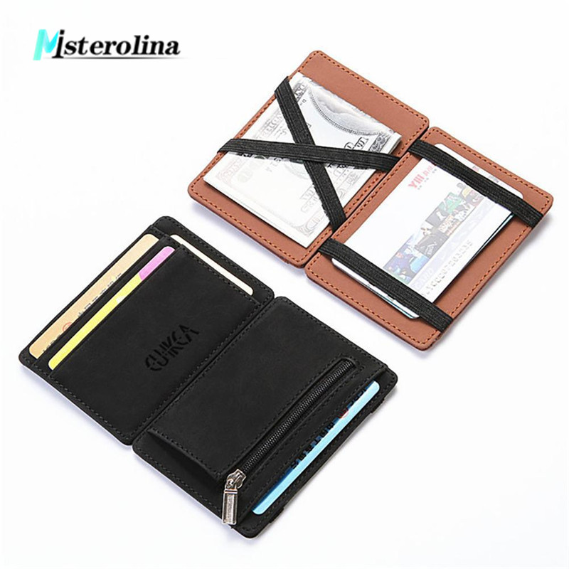 Misterolina mini wallet men's small wallet business PU Leather Magic Wallets high quality Coin Purse Credit Card Holder wallets(China)