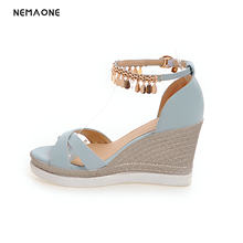 NEMAONE 2018 Women Sandal Wedge High Heel Buckle Women Shoes Ankle Strap  Ladies Wedding Shoes Size 34-43 ef2e2dae3108