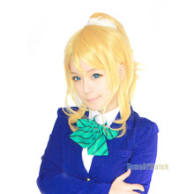 New Arrival! LoveLive! Ayase Eli Gold 2 pcs set wig cosplay wig hair Heat resistance fibre for free shipping(NWG0CP61168-OW2)