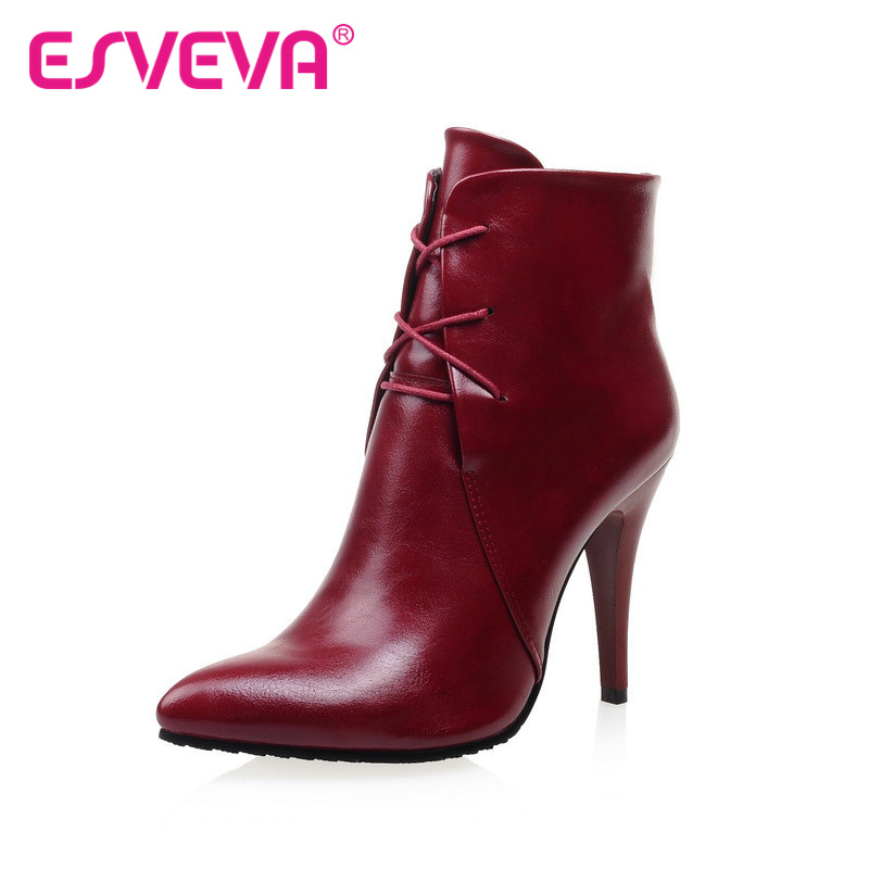 ESVEVA sexy western style women shoes PU  ankle boots high heel ponited toe thin heel women boots spring autumn fashion shoes<br><br>Aliexpress