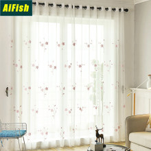 Outdoor Living Room Curtain Tulle Pink Flower Embroidered Semi Sheer Panels Window Linen Gauze Drapery for French Door TM0163(China)
