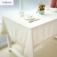 Free Shipping Chinese Classical White Tablecloth Cotton Linen Toalha De Mesa Nappe Rectangulaire Lace Edge Manteles Para Mesa(China)